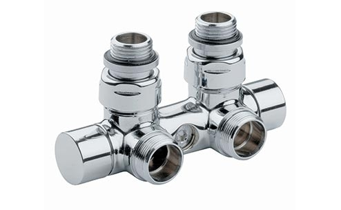 Angle valve with by-pass and lockshield